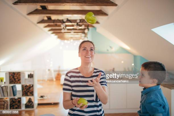 having fun while cooking - juggling stock pictures, royalty-free photos & images