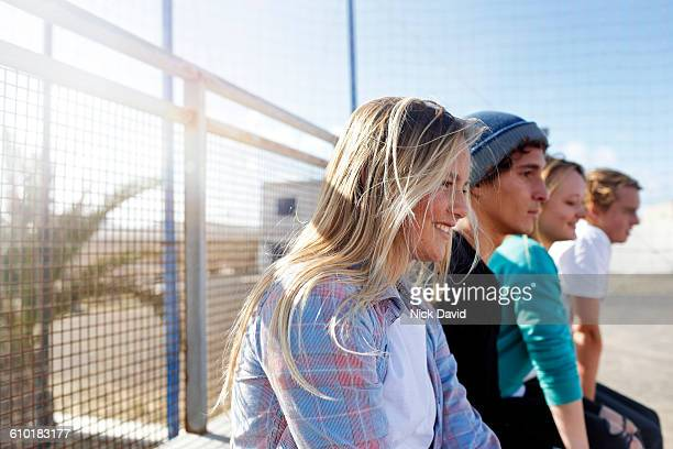 having fun with friends at the skateboard park - atlantic islands stock pictures, royalty-free photos & images