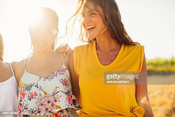 having fun with my girlfriends - yellow dress stock pictures, royalty-free photos & images