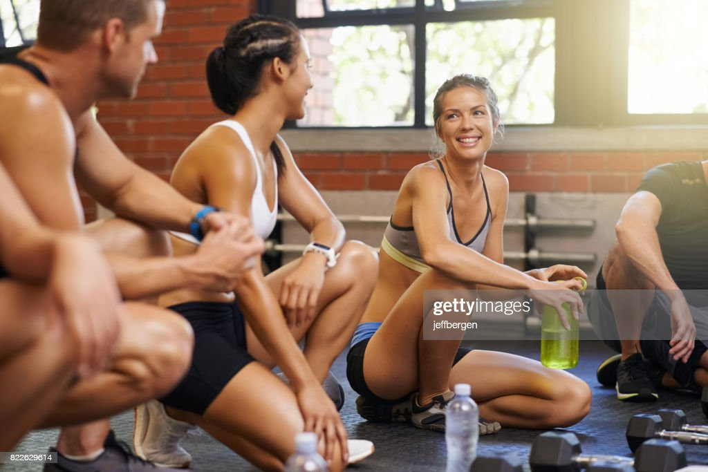 Having fun with their workout : Stock Photo
