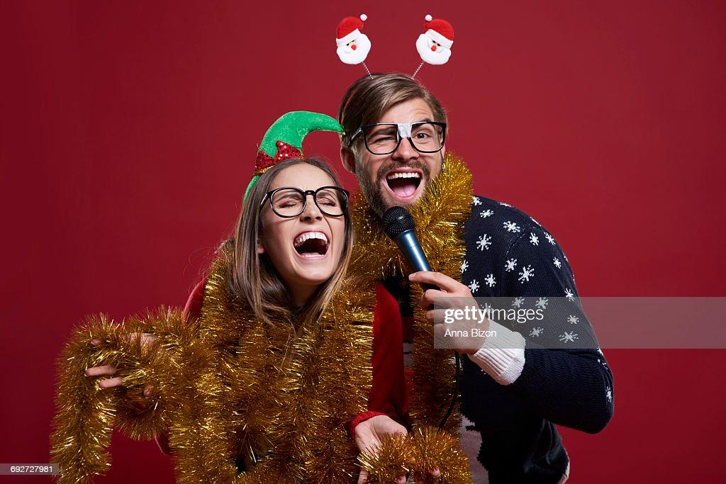Having Karaoke Party During Christmas Time Debica Poland Stock Photo ...