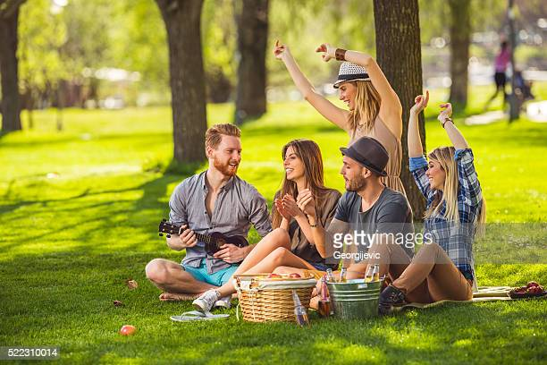 Having party outdoors