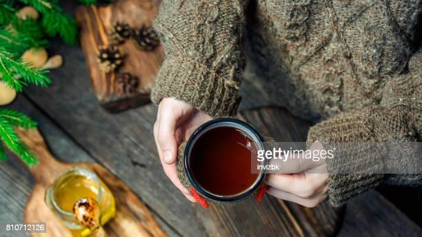 Having tea to get warm in winter