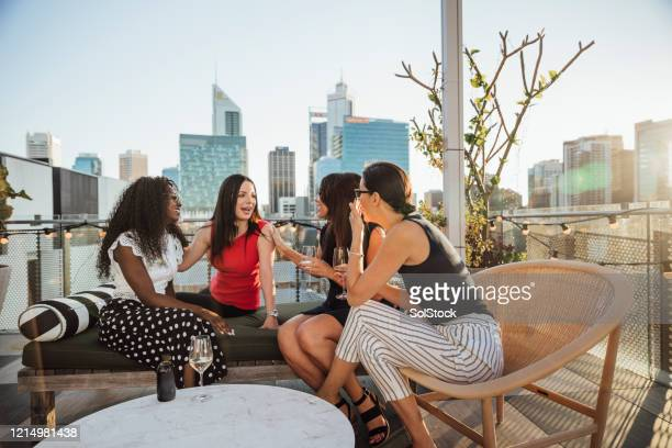 having wine and a gossip - perth stock pictures, royalty-free photos & images