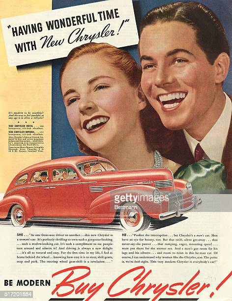 'Having wonderful time with new Chrysler' Advertisement for Chrysler automobile