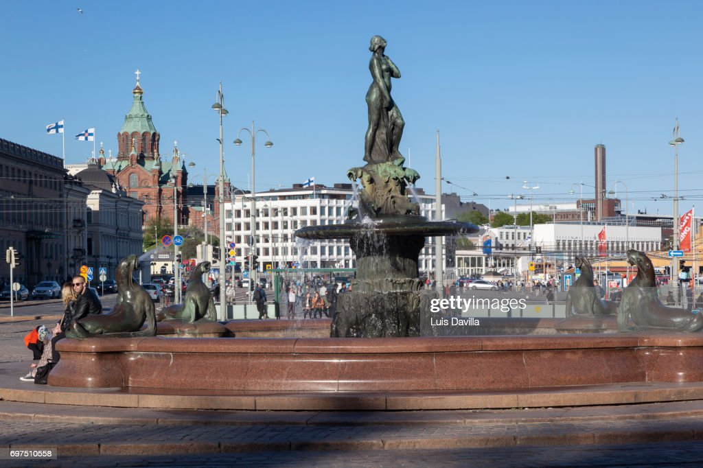 Havis Amanda Nude Female Fountain Statue Market Square . Helsinki. Finland : Stock Photo