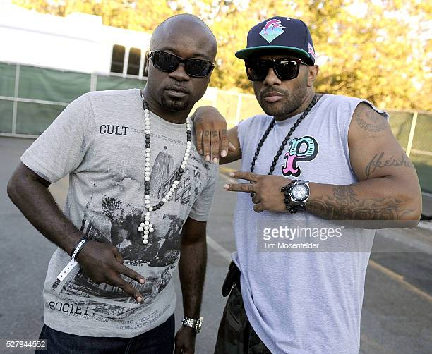Havoc and Prodigy of Mobb Deep pose at Rock the Bells 2011 at Shoreline Amphitheatre in Mountain View California