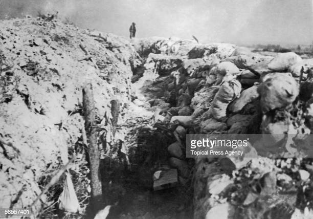 Havoc in a German trench during the French offensive on the Somme World War I July 1916