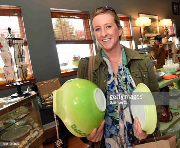 Havre de Grace MD 9/30/17Erin Loomis recently began collecting pyrex She's standing in line at Jo Retro to purchase a green salad bowl and pie plate...