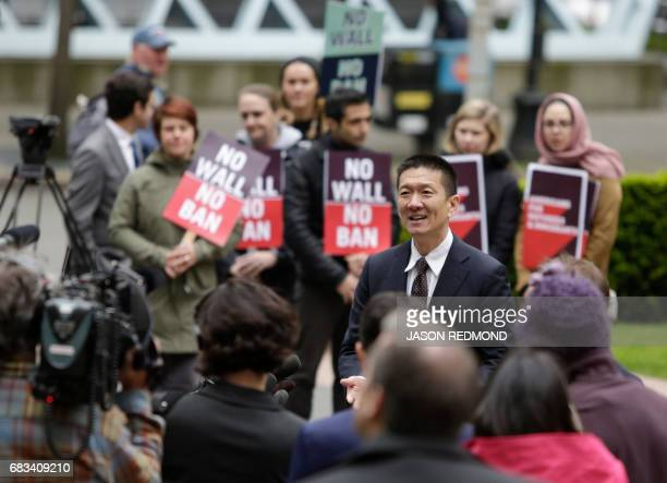 Hawaii Attorney General Douglas speaks to media outside US Court of Appeals in Seattle Washington on May 15 2017 A US government attorney insisted...