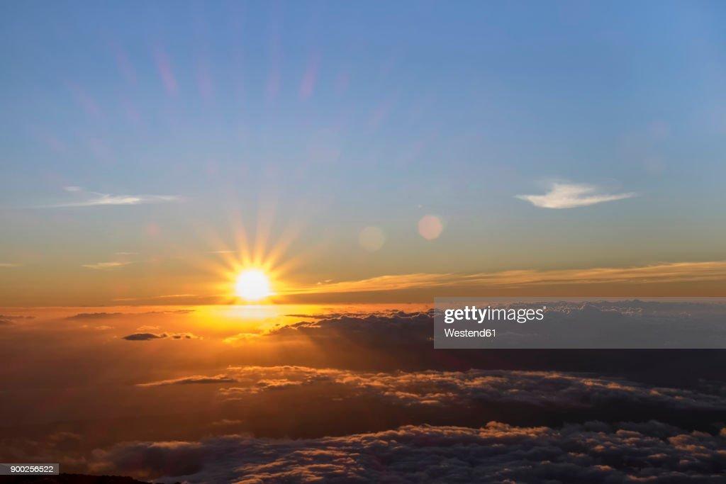 USA, Hawaii, Big Island, Haleakala National Park, sunset : Stock-Foto