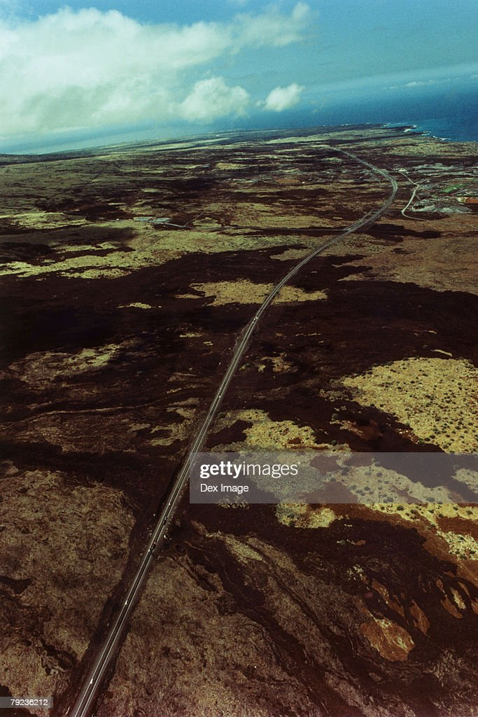 USA, Hawaii, Big Island, highway on lava field, aerial view : Stock Photo