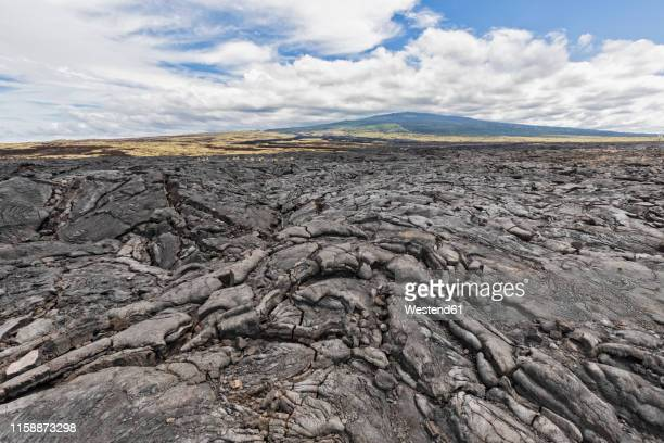 usa, hawaii, big island, kona, mauna loa volcano and lava field - lava plain stock pictures, royalty-free photos & images