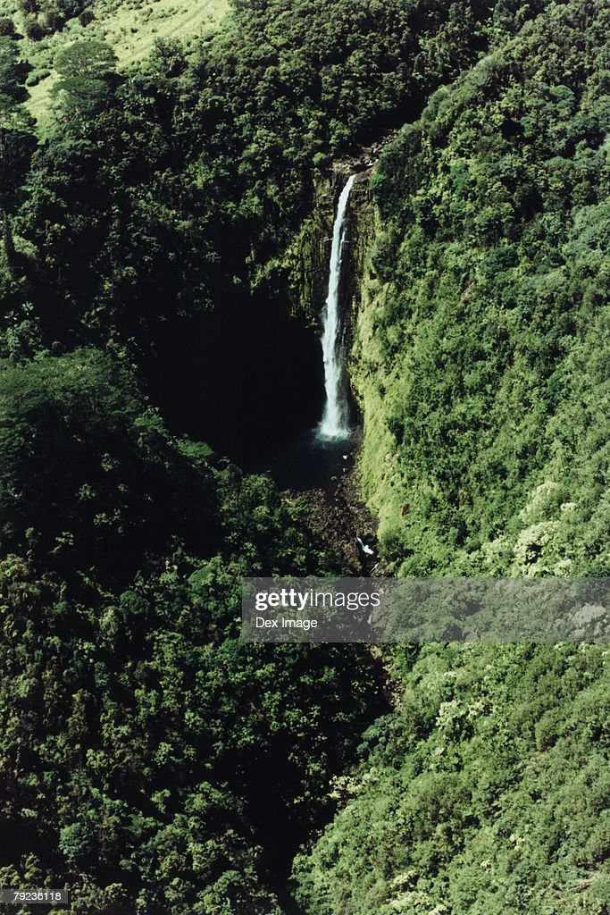 USA, Hawaii, Big Island, waterfall, aerial view : Stock Photo
