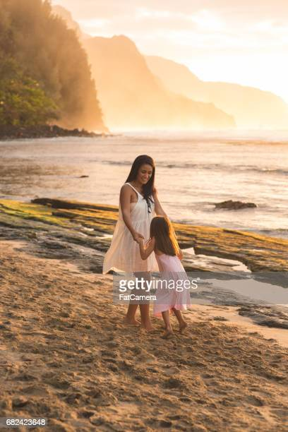 hawaii family vacation on beach - kauai stock photos and pictures