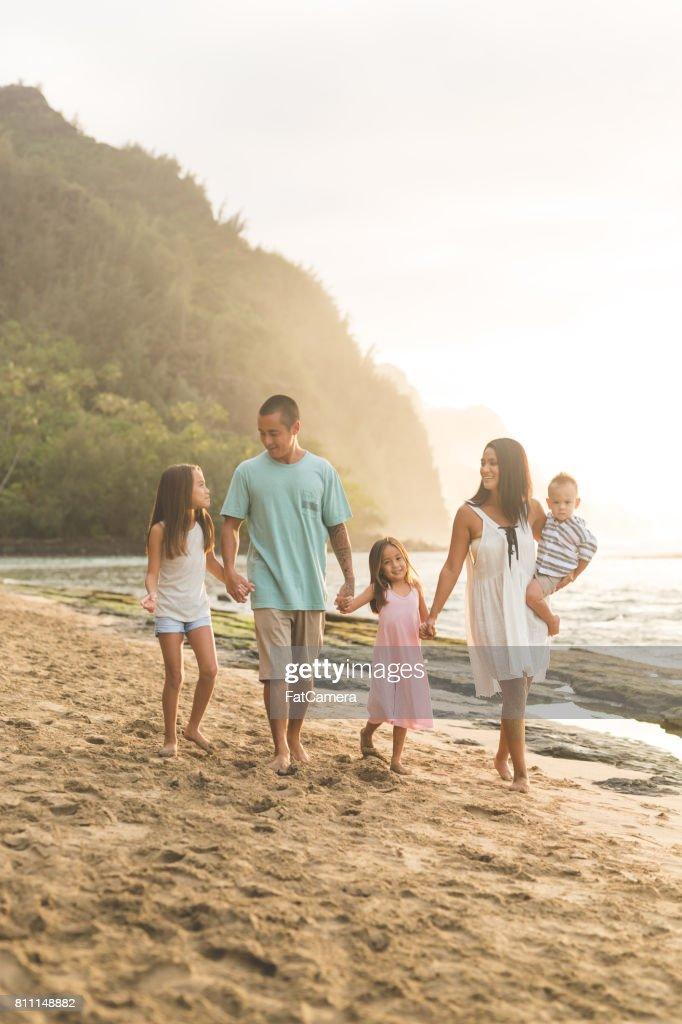 Hawaii Family Vacation On Beach High-Res Stock Photo