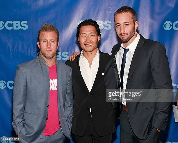 Hawaii FiveO actors Scott Cann Daniel Dae Kim and Alex O'Loughlin attend the 2011 CBS Upfront at The Tent at Lincoln Center on May 18 2011 in New...