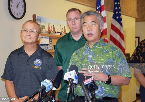 Hawaii Gov David Ige speaks to reporters in Honolulu on Jan 13 after a false alert about an incoming ballistic missile was sent out to residents...