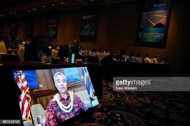 Hawaii Governor David Ige joins the National Clean Energy Summit 90 via Skype on October 13 2017 in Las Vegas Nevada