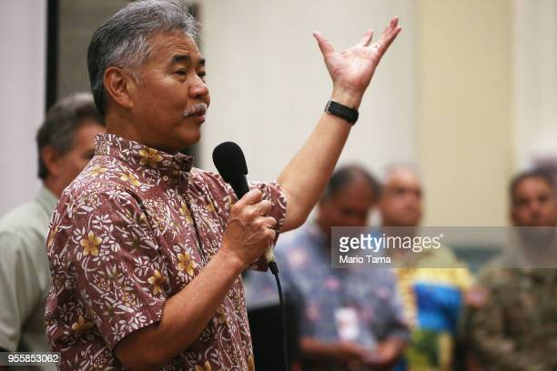 Hawaii Governor David Ige speaks at a community meeting in the aftermath of eruptions from the Kilauea volcano on Hawaii's Big Island on May 7 2018...