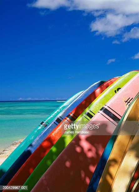 USA, Hawaii, Island of Oahu, Waikiki Beach, surfboards