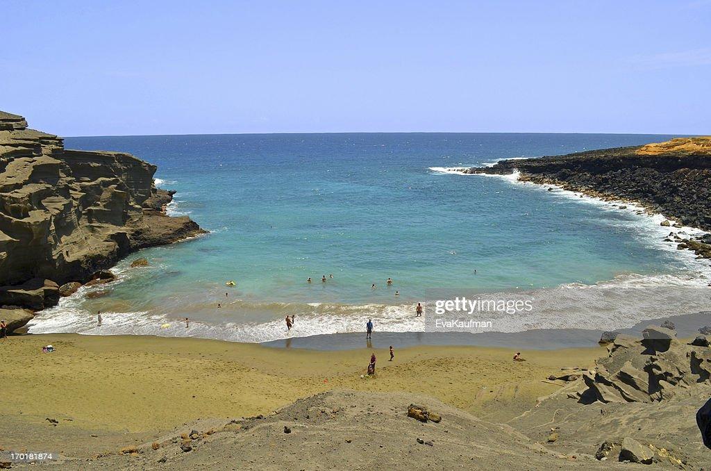 Hawaii Island Papakolea Green Sand Beach Stock Photo