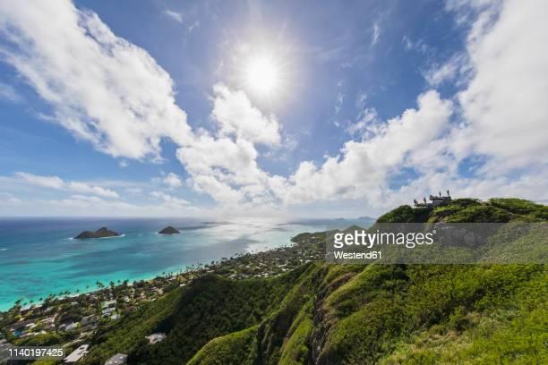 USA, Hawaii, Kailua, View to Twin Islands, Na Mokulua, bunker and tourists against the sun