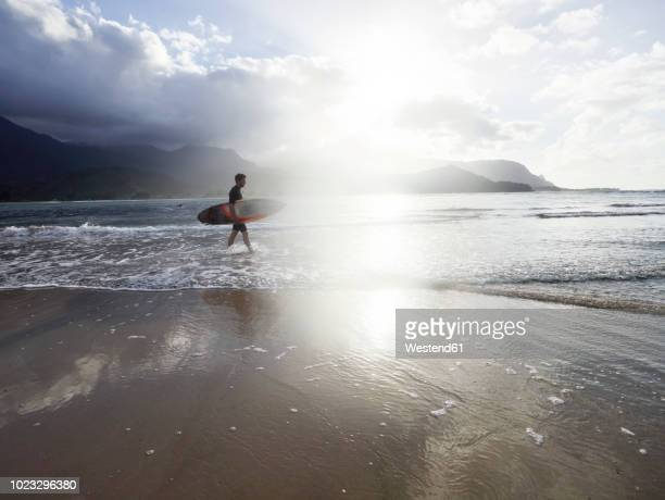 usa, hawaii, kauai, hanalei bay resort, man on the beach with surfboard - pacific islands stock pictures, royalty-free photos & images