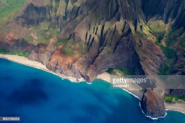 usa, hawaii, kauai, na pali coast, luftaufnahme - na pali stock photos and pictures