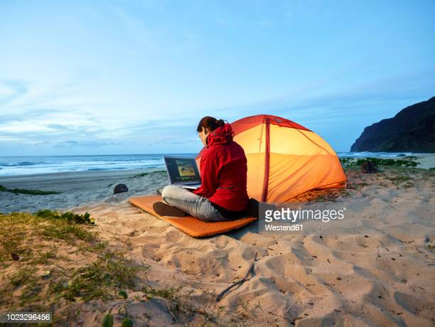usa, hawaii, kauai, polihale state park, woman using laptop at tent on the beach at dusk - ver stockfoto's en -beelden