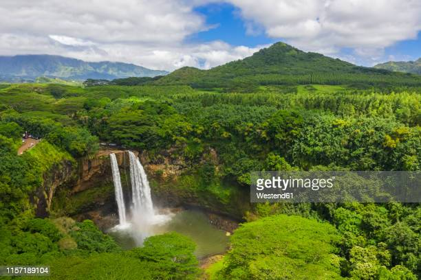 usa, hawaii, kauai, wailua state park, wailua falls, aerial view - ilhas do pacífico imagens e fotografias de stock