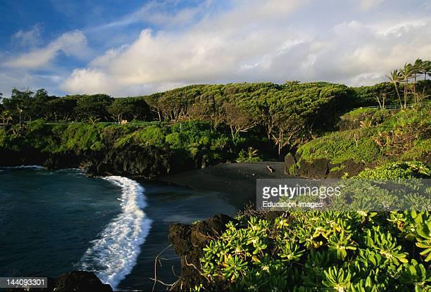 Hawaii Maui Black Sand Beach At Wai'Anapanapa State Park
