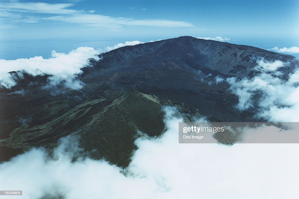 USA, Hawaii, Maui, clouds shrouding Haleakala Peak : Stock Photo