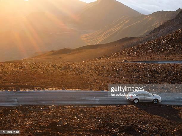 USA, Hawaii, Maui County, Haleakala National Park, Volcano crater and hills at sunrise