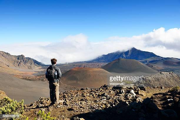 USA, Hawaii, Maui, Haleakala, man looking at volcanic landscape with cinder cones