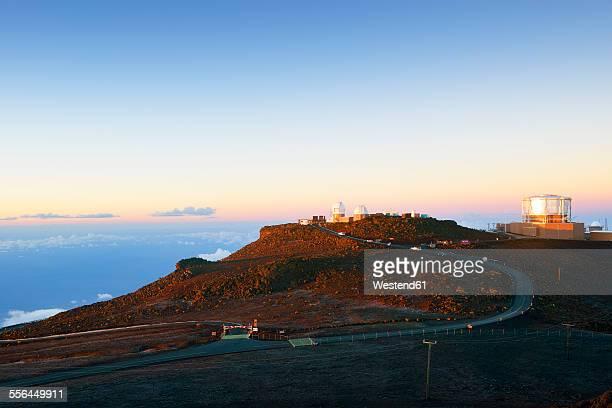 USA, Hawaii, Maui, Haleakala, observatory on mountain top in morning light