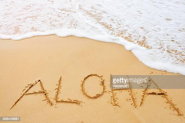 USA, Hawaii, Maui, Makena Beach State Park, aloha drawn in sand