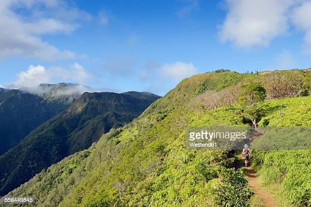 USA, Hawaii, Maui, woman hiking on Waihee Ridge Trail
