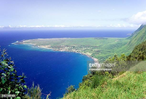 usa hawaii molokai, kalaupapa peninsula. - peninsula stock pictures, royalty-free photos & images