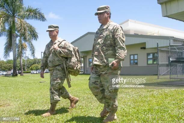 Hawaii National Guard Deputy Adjutant General Kenneth Hara and Task Force Hawaii commander Lt Col Shawn Tsuha at Hawaii County Emergency Operations...