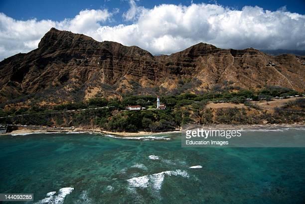 Hawaii, Oahu, Diamond Head Lighthouse, Beach Park, Coast Guard Reservation And Volcano.