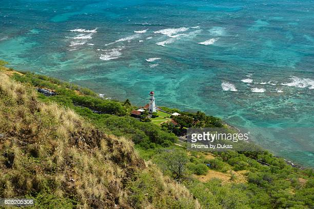 Hawaii, Oahu, Honolulu, Diamond Head beach park lighthouse.