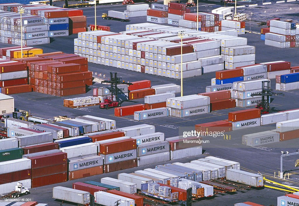 Usa Hawaii Oahu Honolulu Storage Containers At Port Stock Photo