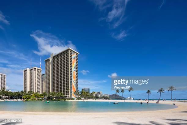 usa, hawaii, oahu, honolulu, waikiki beach, duke kahanamoku lagoon - duke bildbanksfoton och bilder