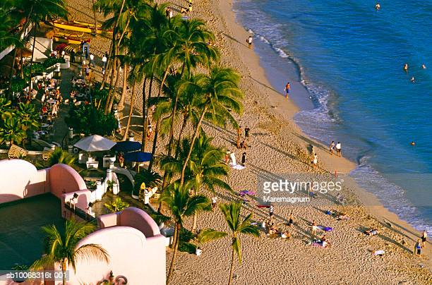 usa, hawaii, oahu, honolulu, waikiki beach - ワイキキビーチ ストックフォトと画像