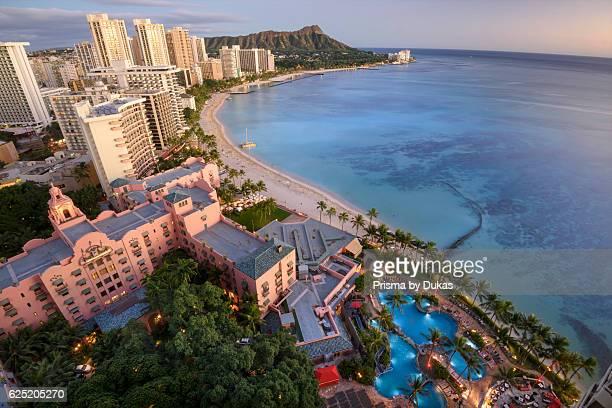 USA Hawaii Oahu Honolulu Waikiki Sheraton Waikiki view to Diamond Head looking at The Royal Hawaiian a Luxury Collection Resort