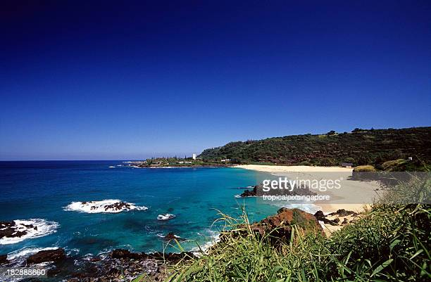 usa hawaii o'ahu, north shore, waimea bay. - waimea bay hawaii stock photos and pictures