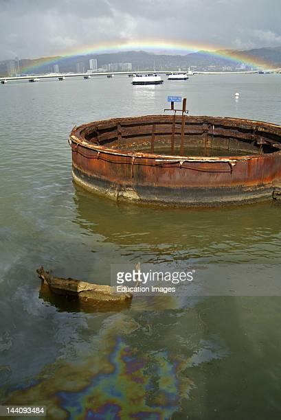 Hawaii, Oahu, Pearl Harbor, Uss Arizona Memorial, Oil Leaking To Surface.