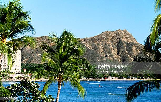 usa hawaii o'ahu, waikiki and diamond head. - volcanic crater stock pictures, royalty-free photos & images