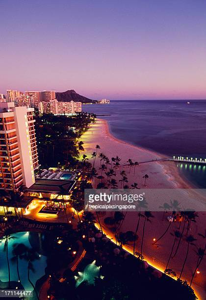 usa hawaii o'ahu, waikiki and diamond head. - honolulu stock pictures, royalty-free photos & images